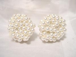 "E01, Vintage - Faux Pearl Clusters - Screw-On Earrings  - 3/4"" dia.  - $9.89"