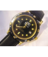 "M09, Nike Air Mens Black Faced 9"" Watch, Date, Gold Tone, 9765 - $19.59"
