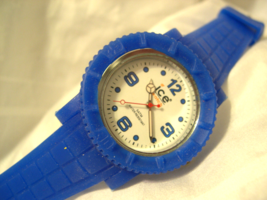 """M10, Ice Mens White Faced Watch, 9"""" Blue Silicon Band, w/b - $19.79"""