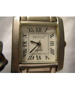 M04, Seville, Mens Silver Tone Watch, White Face, Adj. Link Band - $19.83