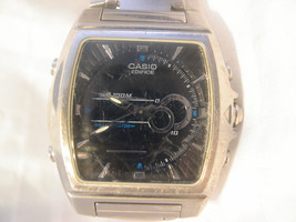 M13, Casio Edifice Mens Black Faced Watch, Adj. Link  Band, efa 120 - $39.59