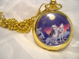 "M13, Pocket Watch, Howling Wolf,  Gold Tone w/ 15"" Chain - $15.87"
