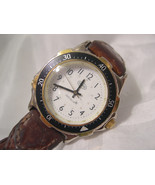 """M12, Guess Indiglo, Mens White Faced Watch, 9"""" Brn. Braided Leather Band - $32.79"""