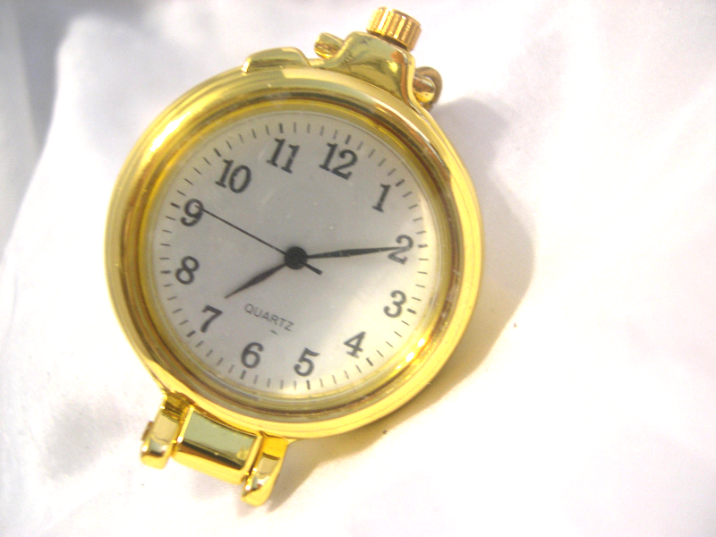 M14, Pocket Watch, Gold Tone with White Face, Easy Open, with battery - $15.83
