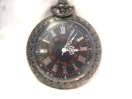 M14, Pocket Watch, Black with Black Face and Roman Numerals - $19.83