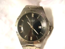 M02, Luxe Diamond, Mens Wrist Watch, Silver tone Adj. Band, Date - $29.79