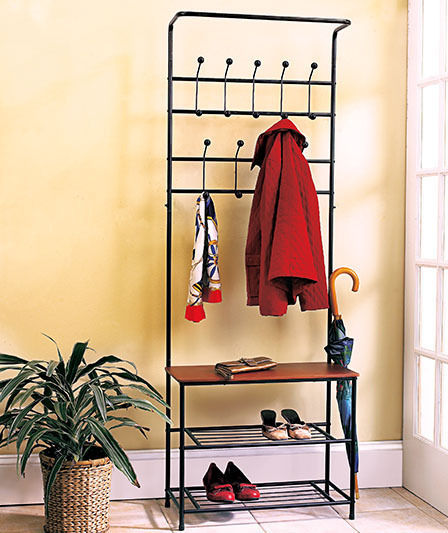 Shoe and Coat Rack Storage Hooks Metal Entryway Bench with Wood Seat
