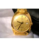 M02, Timex V Conic, Mens Gold Tone Watch, Vintage, Half Flex Band, DayDate - $99.29