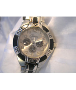 M04, Fondini Mens Two Tone Watch, Silver Face, 3 Dials in Black - $19.99