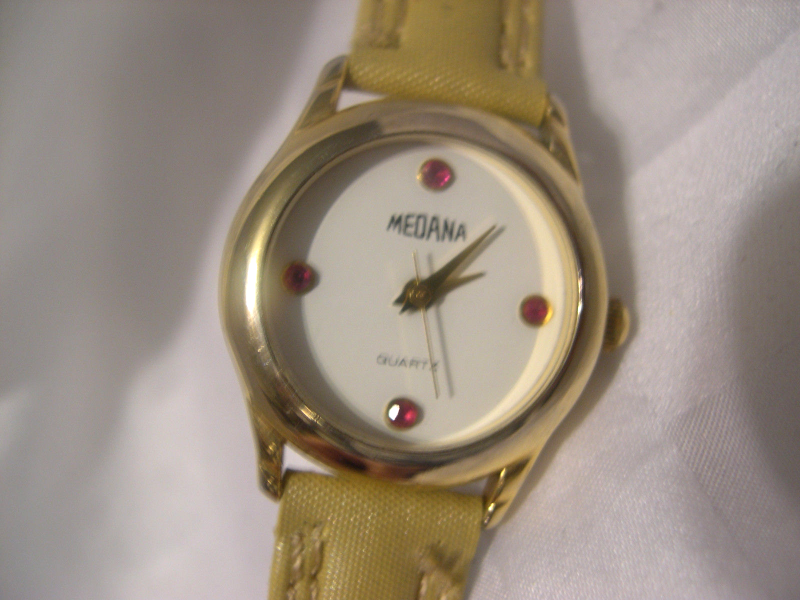 "Primary image for L52, Medana, Ladies Gold Tone Watch, 7.5"" Band, White Face, w/b"