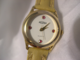 "L52, Medana, Ladies Gold Tone Watch, 7.5"" Band, White Face, w/b - $19.79"