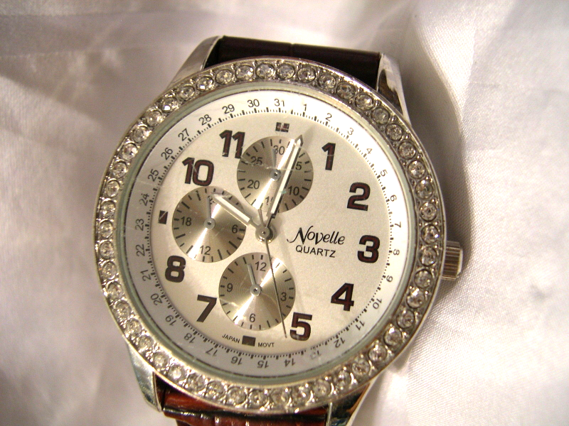 "Primary image for L09, Novelle, Ladies Four Dial Watch, Rhinestones, 8.5"" band  w/b"