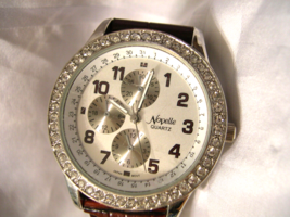 "L09, Novelle, Ladies Four Dial Watch, Rhinestones, 8.5"" band  w/b - $9.99"