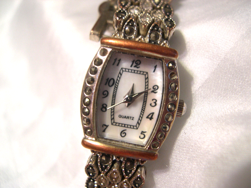 "Primary image for L55, M.  Z. Berger, Black Diamond Ladies Marcasite Watch, 6.5"" Band, w/b"