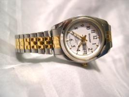 L55, Sharp, Ladies Two Tone Watch , White Face, Day and Date, w/b - $15.83