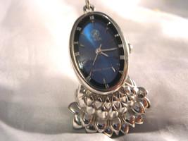 L27, J. Win, Necklace Watch, Deep Cobalt Blue Metallic Face w/ Silver To... - $39.59