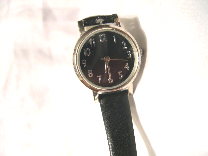 "Primary image for L25, Ladies Black Faced Watch, Silver Tone, 8"" Black Band  w/b"