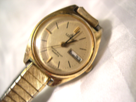 L54, Lorus, Ladies Gold Tone Watch, Flex Band, Day and Date, V243-0100, ... - $15.83