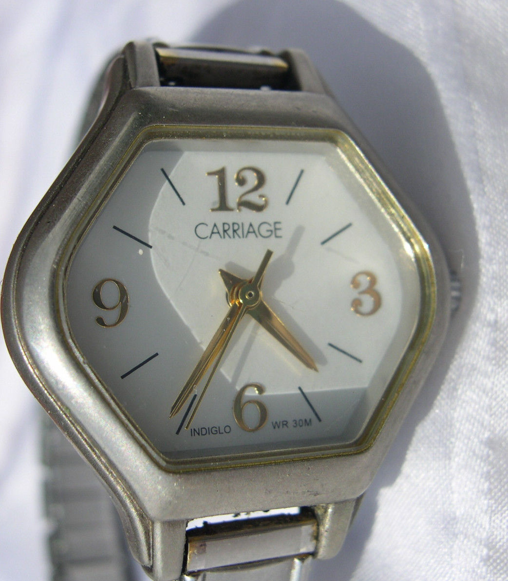 Primary image for L35, Carriage, Octagonal White Faced Watch, Silver Tone Flex Band