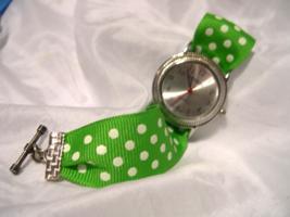 """L46, Geneva Ladies Silver Tone Watch, 6.5"""" Green Polka Dot Ribbon Band, w/b - $15.99"""