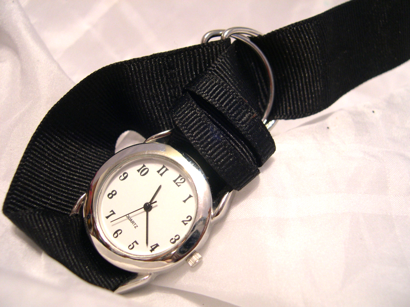 "Primary image for L46, Ladies White Faced Watch, Silver Tone, 8.5"" Black Ribbon Band  w/b"