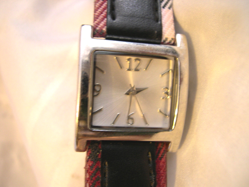 "Primary image for L46, Ladies Watch, Silver Tone w/White Face, 8"" Plaid  Band  w/b"