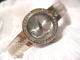 L34, Blair, Silver Tone Cuff Watch, Crystal Surround, High Polish Band  w/b - $19.83
