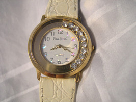 "L02, Pierre Nicol, 3D Numbers, White Face w/ 8.75"" White Leather band  w/b - $18.79"