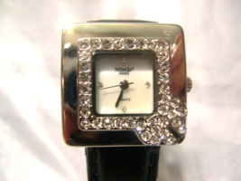"L12, Mondu, Ladies Pearly Faced Watch, Crystal Surround, 8"" Black Band  w/b - $19.79"