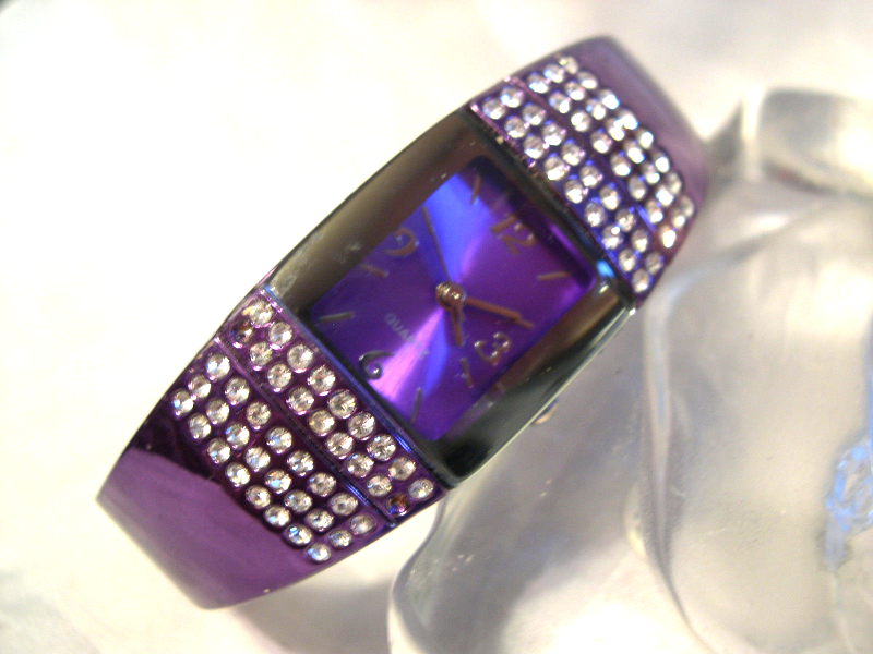 "Primary image for L03, Ladies Cuff Watch, Vibrant Purple w/ Cyrstals, 2.25"" inner dia.  w/b"