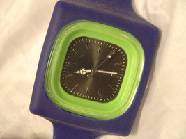 "L42, Soft and Supple 9"" Blue Silicon Band, Green / Black Face, Wrist Watch - $13.87"