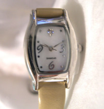 "L47, Ladies Silver Tone Watch, 8"" Light Tan Band, MoP Face, w/b - $15.89"