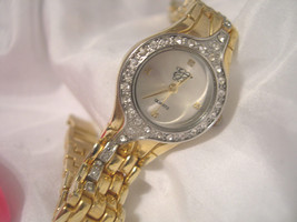 "L47, EJ, Ladies Gold Tone Dress Watch, Crystals, Day&Date, 7.5""  Band  w/b - $19.79"
