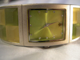 L28, Oui Art, Ladies Cuff Watch,  Band with Stained Glass Window Effect, w/b - $29.69