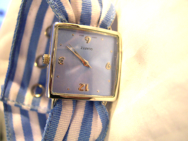 L29, Ladies Watch, Silver Tone with Light Blue Face and Fabric Band  w/b - $12.89