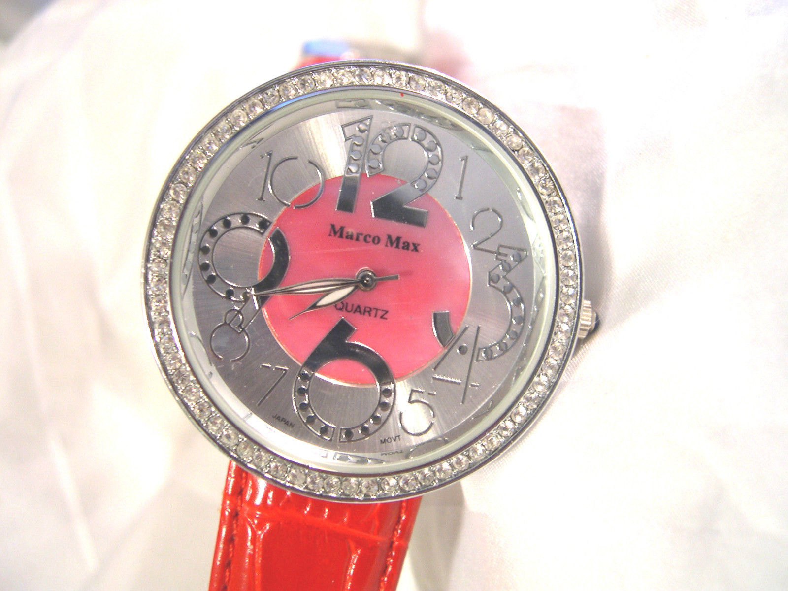 "Primary image for L29, Marco Max, Ladies Large Faced Watch, Silver/Red Face, 8.5"" Red Leather Band"