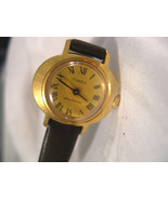 "L32, Timex, Ladies Vintage Winding Watch, Orig. Hadley Roma 7"" Leather Band - $19.79"