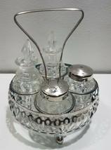 Vintage Clear cut Glass Cruet oil vinegar Set W/Silver Plate caddy salt ... - $14.93
