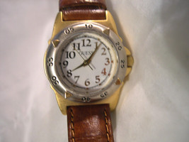 "L32, Guess, Ladies Gold Tone with White Face, Gold Accents, 7.5"" Leather Band - $19.79"