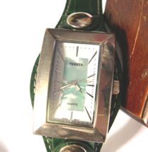 "L04 Terner, Ladies Large Square Faced, 8"" Green Band, w/b - $15.83"
