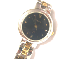 L56, Fossil F2, Ladies Black Faced Watch, Two Tone Linked Band, E8845 - $29.79