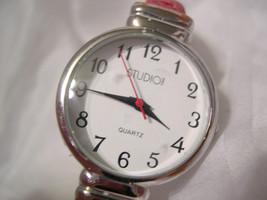L69, Studio! Ladies Red Leather Cuff Wristwatch, Silver Tone, std974T, w/b - $9.99