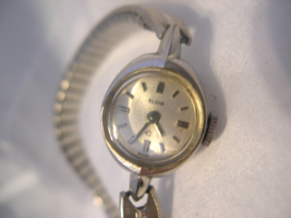 L50, Elgin Swiss, Ladied Silver Tone Wind Up Watch, Vintage, 10K Rgp Gold Bezel - $29.69