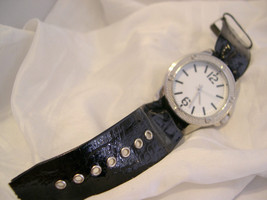 "L69, Ladies Large White Faced Wristwatch, Silver Tone, 8.5"" Black Band, w/b - $11.83"