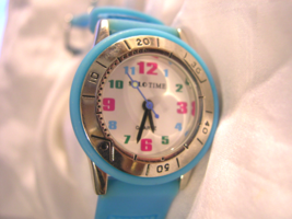 "L05, Solo Time, Ladies White Face Watch, Colorful Numbers, 8.5"" Band  w/b - $15.79"