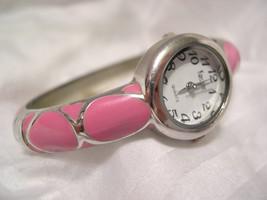 L69, Kristine, Ladies Cuff Watch, Silver Tone & Pink Enamel, White Face, w/b - $20.78