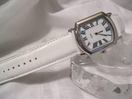 """L68, Ladies Large Face Watch, mop Face, Roman Nbrs, 9"""" White Leather Band, w/b - $19.79"""
