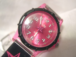 """L73, Lucky Watch, Hot Pink Face, 7.5"""" Black Silicon Band w/ Stars, LK10737, w/b - $19.79"""