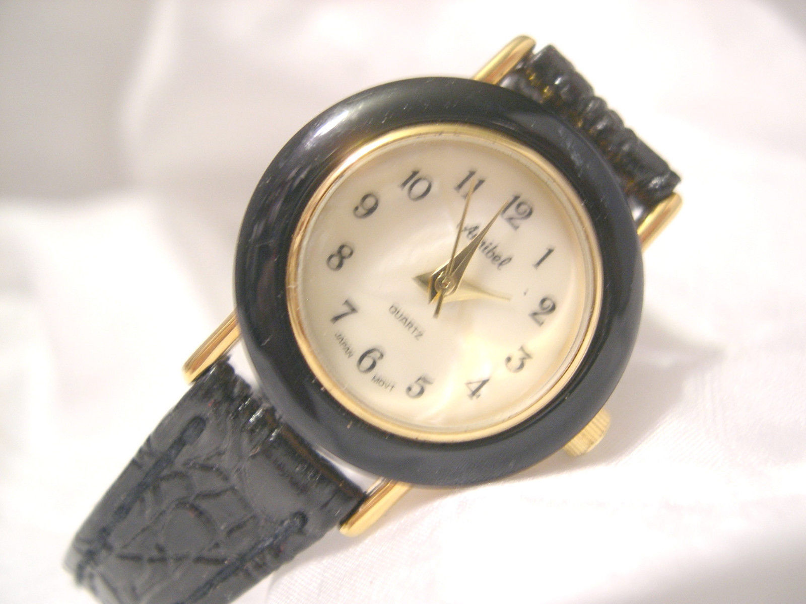 "Primary image for L66, Annibel, Ladies MoP Faced Watch, Gold Tone, 7.5"" Leather Band, w/battery"