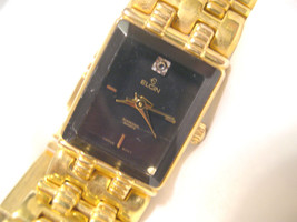 "L66, Elgin Ladies Watch, Faceted Black Face, 7.5"" Gold Tone Bracelet, EM320 040 - $29.69"